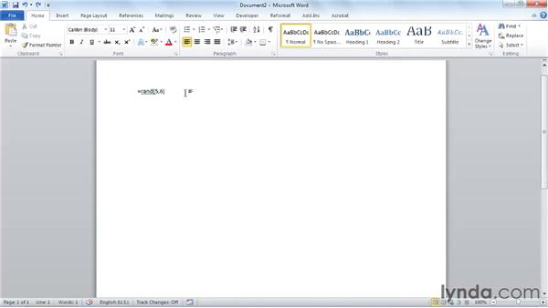 Creating placeholder text: Word 2010 Essential Training