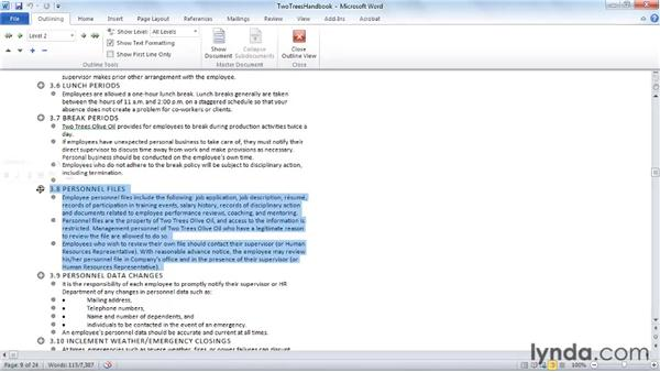 Using Word's document tools: Word 2010 Essential Training