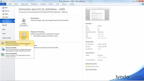 Managing documents with Backstage view: Word 2010 Essential Training