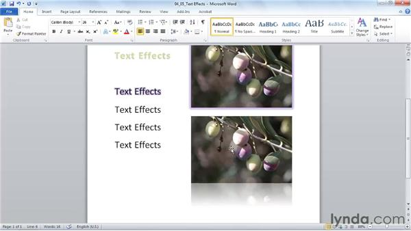 Using text effects and adding impact to a document: Word 2010 Essential Training