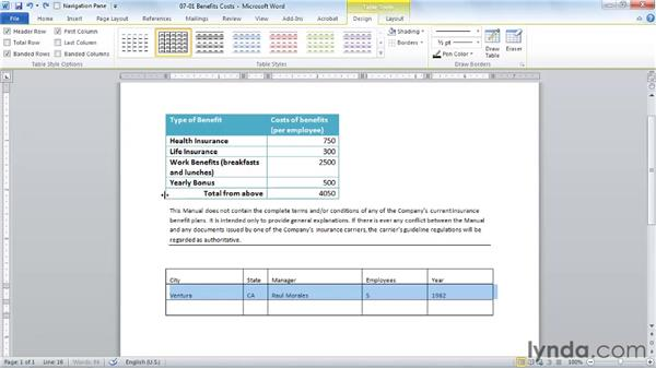 Creating a table to organize text: Word 2010 Essential Training
