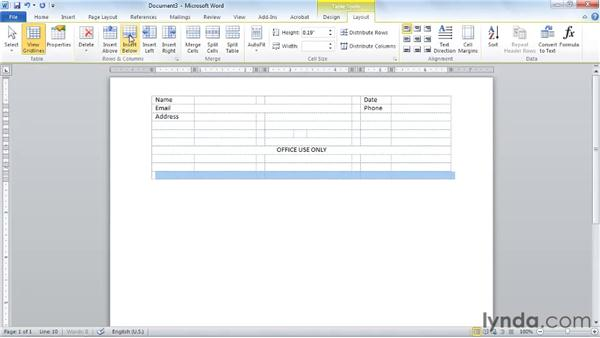 Merging, splitting, and formatting cells to create a form: Word 2010 Essential Training