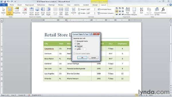 Converting a table to text: Word 2010 Essential Training