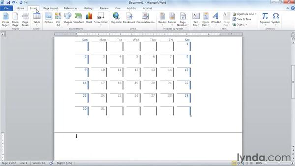 Using Quick Tables: Word 2010 Essential Training