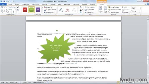 Wrapping text around graphics: Word 2010 Essential Training