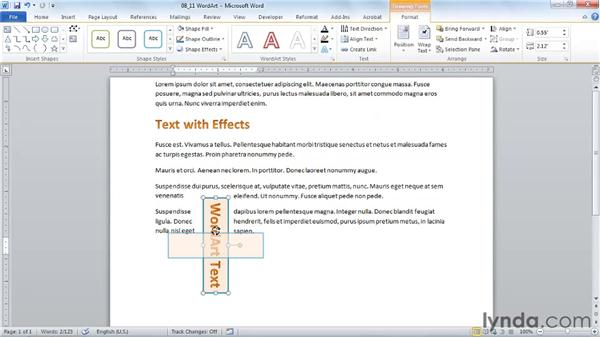 Illustrating with WordArt: Word 2010 Essential Training