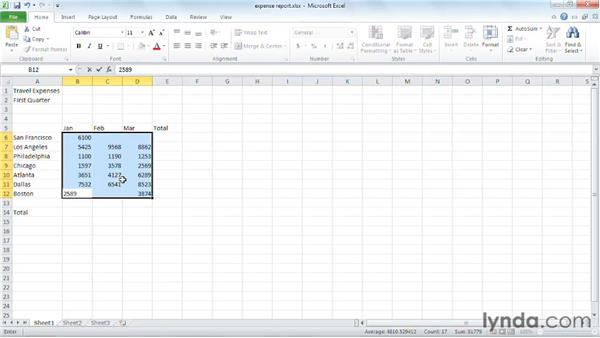 Entering data in a worksheet: Excel 2010 Essential Training