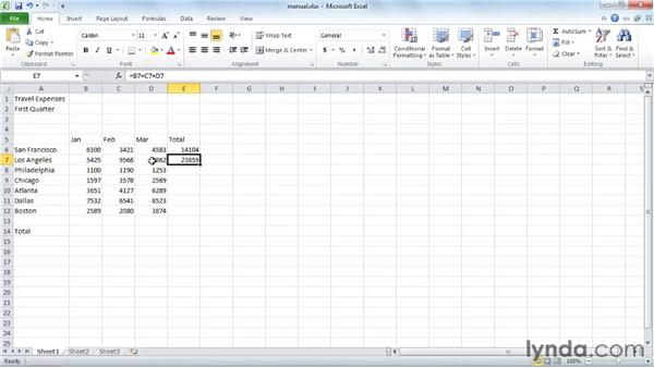 Adding numbers manually: Excel 2010 Essential Training