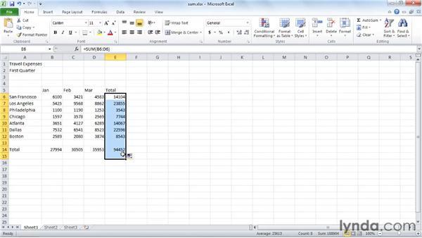 Adding numbers using Sum and AutoSum: Excel 2010 Essential Training