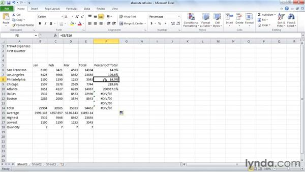 Preventing errors using absolute references: Excel 2010 Essential Training