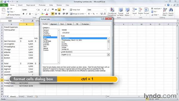 Formatting numbers and dates: Excel 2010 Essential Training