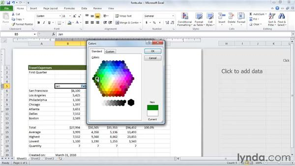 Applying fonts, background colors, and borders: Excel 2010 Essential Training