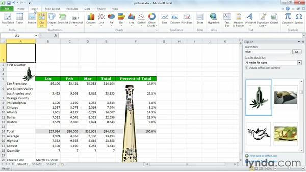 Adding pictures and shapes: Excel 2010 Essential Training