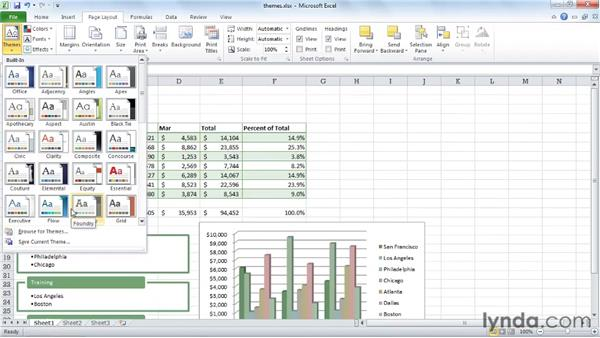 Coordinating a look using themes: Excel 2010 Essential Training