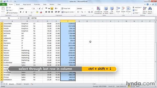 Applying built-in styles: Excel 2010 Essential Training