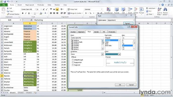 Creating and sharing styles: Excel 2010 Essential Training