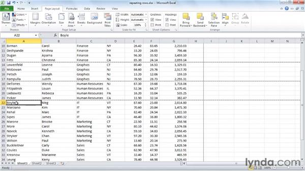 Repeating row and column titles: Excel 2010 Essential Training