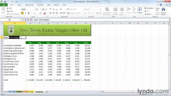 Calculating formulas across worksheets: Excel 2010 Essential Training