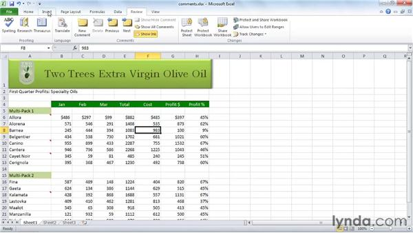 Inserting and editing comments: Excel 2010 Essential Training