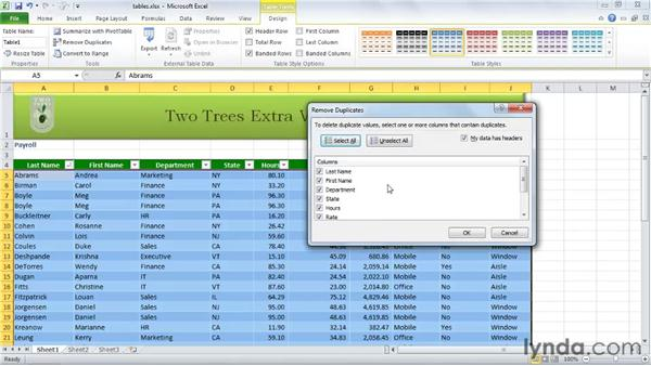 Using tables to sort and filter data: Excel 2010 Essential Training