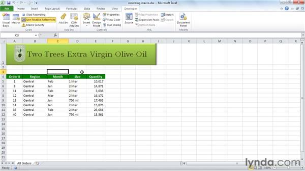 Recording and using a simple macro: Excel 2010 Essential Training