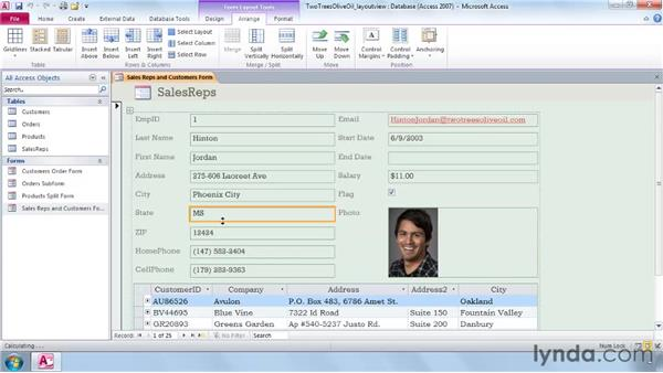Modifying a form in Layout view: Access 2010 Essential Training