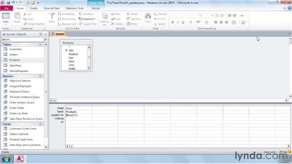 Using update queries: Access 2010 Essential Training