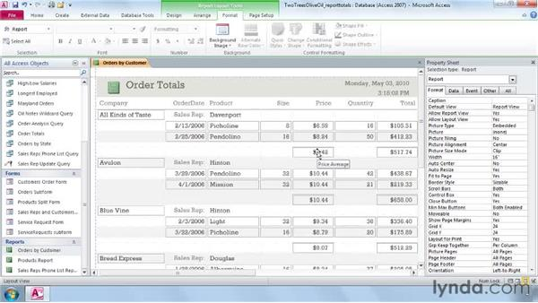 Adding totals and subtotals to a report: Access 2010 Essential Training