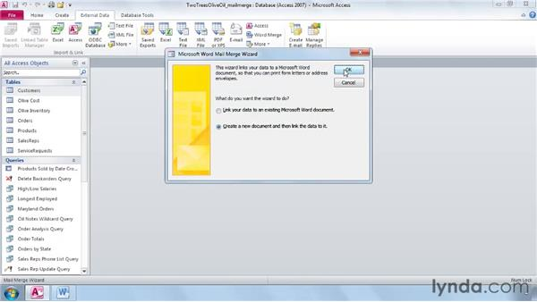 Exporting into a Word Mail Merge: Access 2010 Essential Training