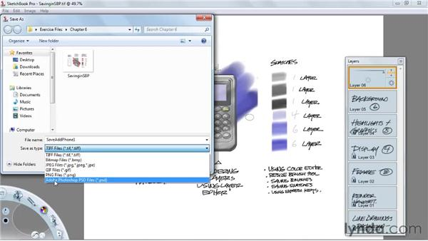 Saving files for use in other applications: SketchBook Pro 2010 Essential Training