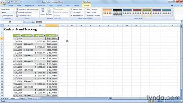 Creating an Excel table to track cash on hand: Excel 2007: Creating Business Budgets