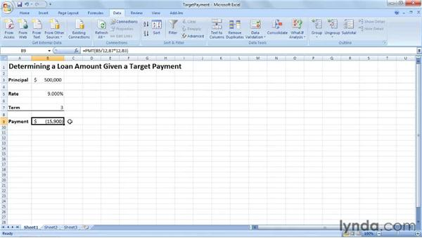 Determining the maximum amount that can be borrowed using Goal Seek: Excel 2007: Creating Business Budgets