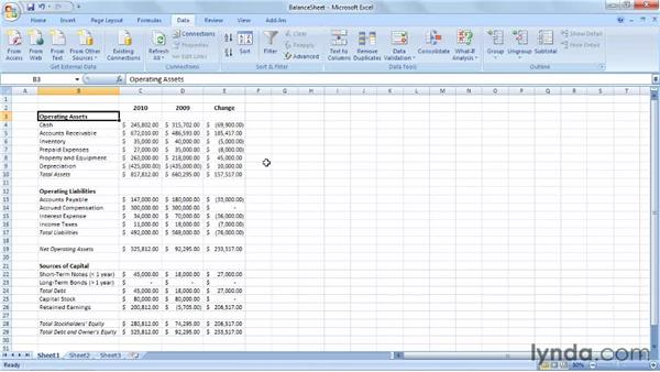 Introducing the balance sheet: Excel 2007: Creating Business Budgets