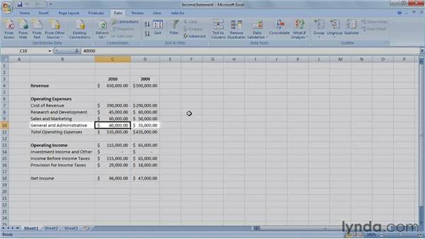 Introducing the income statement: Excel 2007: Creating Business Budgets