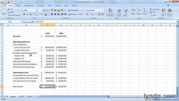 Creating a management balance sheet: Excel 2007: Creating Business Budgets