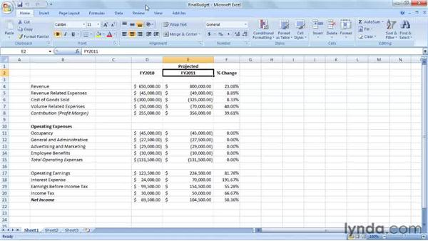 Creating a budget for next year: Excel 2007: Creating Business Budgets