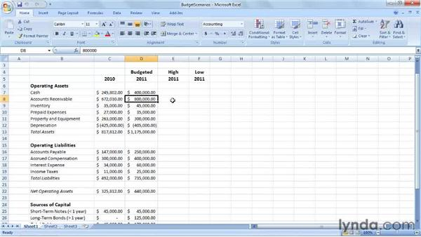 Deciding which scenarios to create: Excel 2007: Creating Business Budgets
