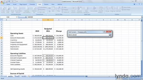 Creating and applying scenarios: Excel 2007: Creating Business Budgets