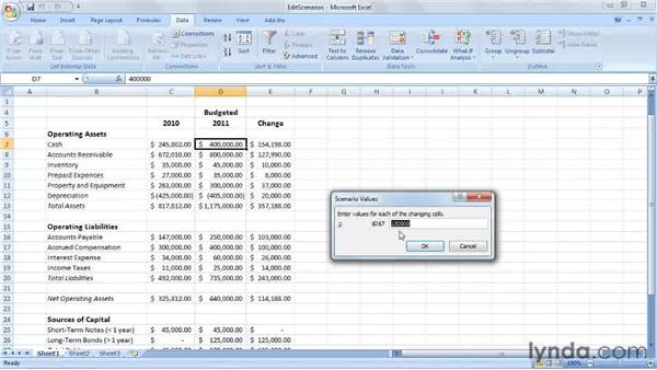 Editing and deleting scenarios: Excel 2007: Creating Business Budgets