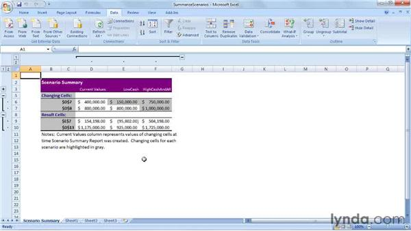 Summarizing scenarios: Excel 2007: Creating Business Budgets