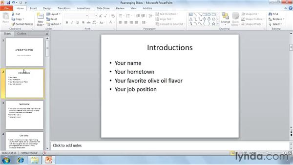 Rearranging slides: PowerPoint 2010 Essential Training