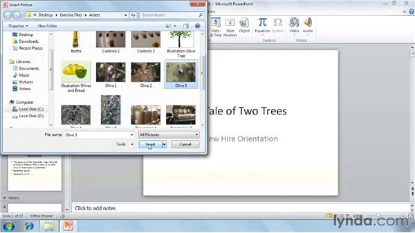 Adding photos and clip art: PowerPoint 2010 Essential Training