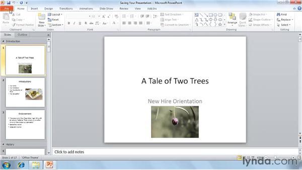 Saving a presentation: PowerPoint 2010 Essential Training