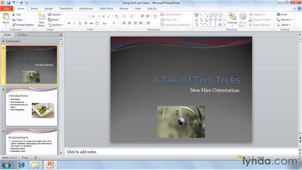Using fonts and color: PowerPoint 2010 Essential Training