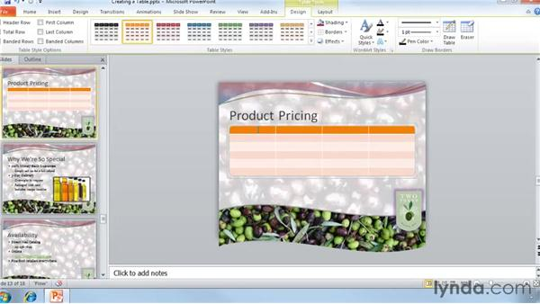 Creating tables: PowerPoint 2010 Essential Training