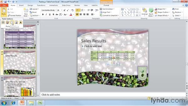 Pasting tables from Excel: PowerPoint 2010 Essential Training