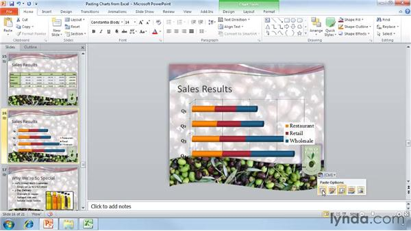 Pasting charts from Excel: PowerPoint 2010 Essential Training