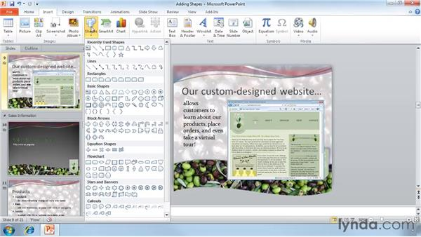 Adding shapes: PowerPoint 2010 Essential Training