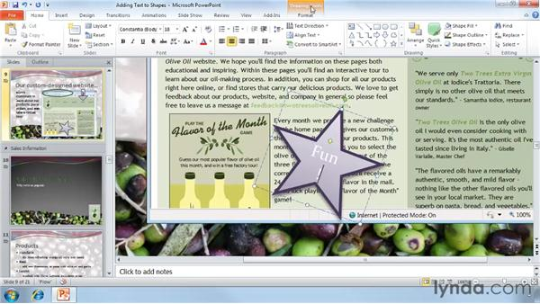 Adding text to shapes: PowerPoint 2010 Essential Training