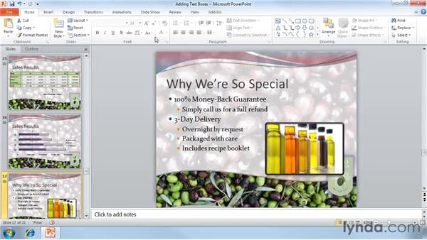 Adding text boxes: PowerPoint 2010 Essential Training